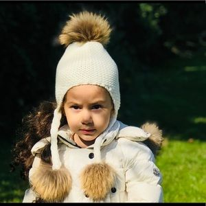 Other - Winter white hat with fox Pom